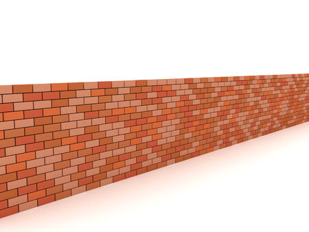 3D image of brick wall on white background.