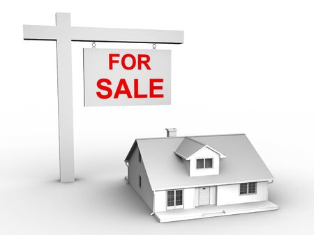 3D image of house for sale Stock Photo