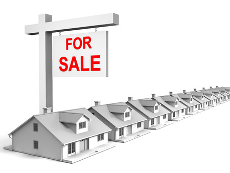 3D image of houses for sale. Stock Photo