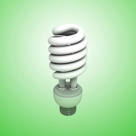 3D image of Fluorescent Lightbulb on green background.