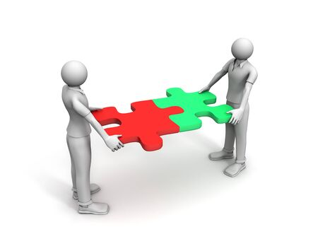 3D image of men with puzzle, woking together Stock Photo