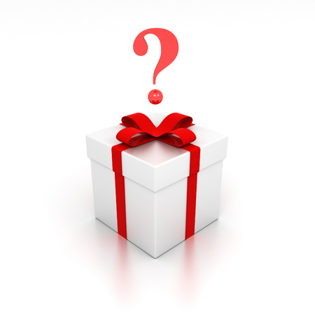3D image of present with question marks. Stock Photo