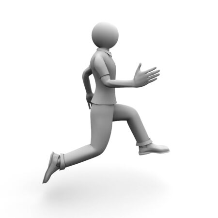 3D image of running man on white background.