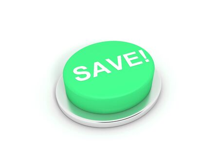 3D image of save button on white background. Stock Photo