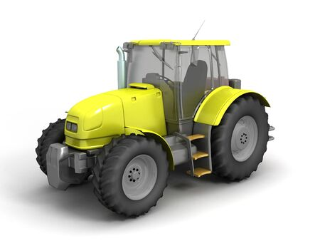 3D image of tractor on white background.
