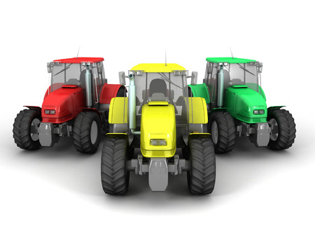 3D image of tractors on white background.
