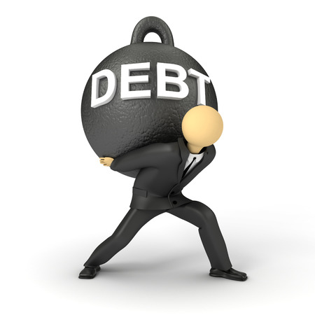 3D image of businessman holding the heavy burden of debt Stock Photo