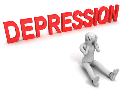 3D image of man and depression text on white background.