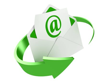 3D image of letter with e-mail sing and arrow around.