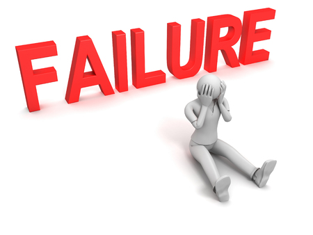 3D image of man and failure sign, isolated on white.