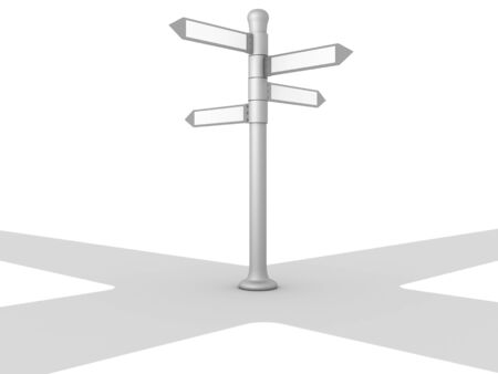 3D image of crossroads on white background. Stock Photo