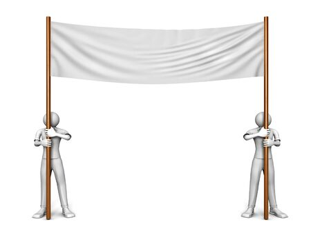 3D image of two men with blank banner on white Stock Photo