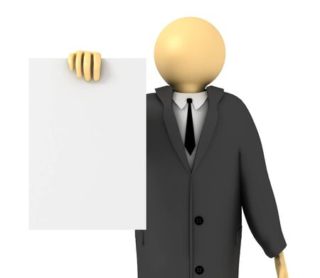 3D image of Businessman showing blank paper on white.