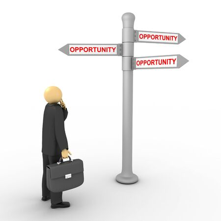 3D image of businessman with opportunity direction on white. Stock Photo