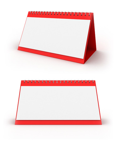3D image of two calendars on white background. Stock Photo
