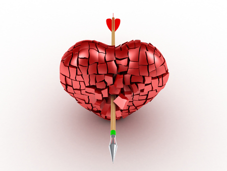 3D image of broken heart with arrow on white background