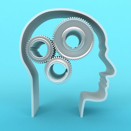 3d person: 3D image of head with gears on blue background. Stock Photo