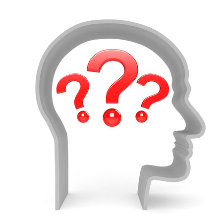 3D image of head with question on white background.