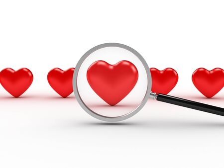 3D image of heart search on white background. Stock Photo