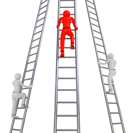 3D image of three men trying to get up on ladders.
