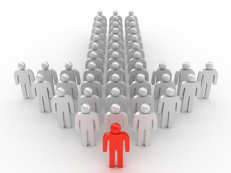 3D image of leader and crowd of man on white background. Stock Photo