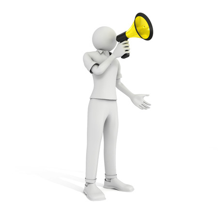 3D image of man with megaphone on white background. Stock Photo