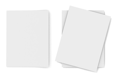 3D image of blank papers on white background. Stock Photo