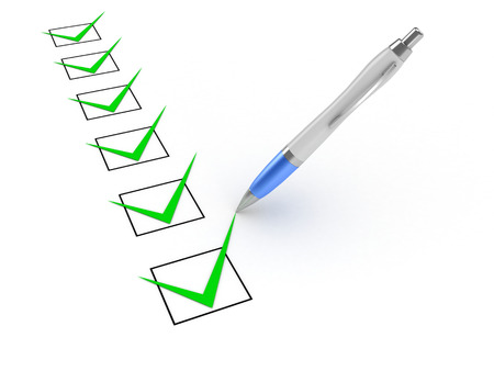 checkboxes: 3D image of pen and checkboxes on white background.