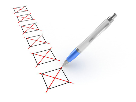 3D image of pen and checkboxes on white background.