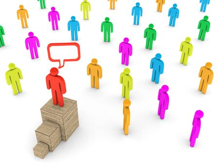 3D image of leader talking to a crowd on white background. Stock Photo