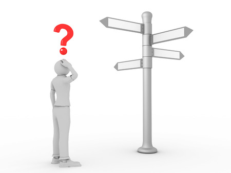 right path: 3D image of man choosing right path on white background