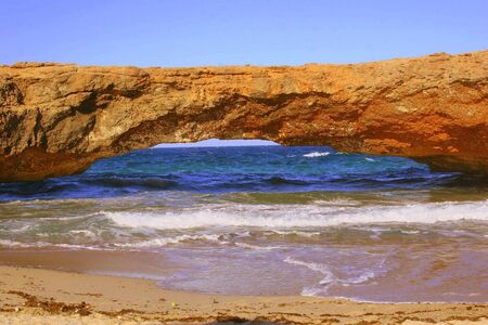 littoral: Natural bridge on Aruba island