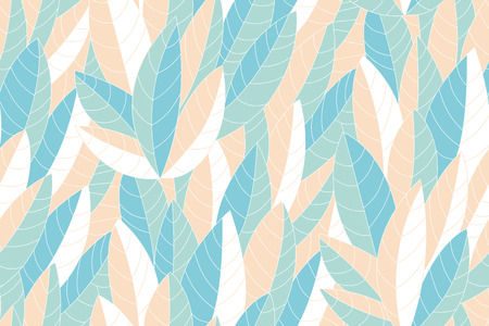 Seamless pattern of beige and blue leaves with white lines. Vector illustration Ilustrace