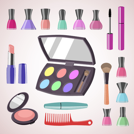 Sets of cosmetics on isolated background. Tools for professional make-up: mascara, cosmetic brush, lipstick, nail polish, comb, eyeshadow and face powder. Vector illustration. 向量圖像