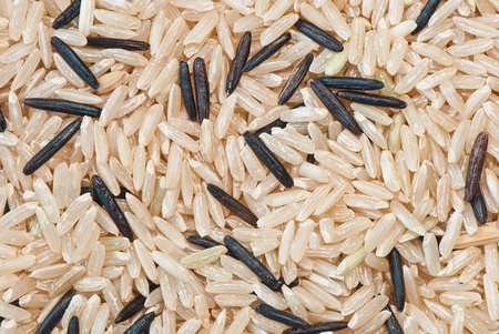 mixture of brown and wild rice close-up, background photo