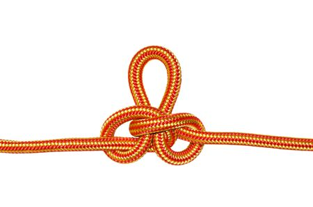 Austrian conductor knot. From the orange rope, isolated on a white background.
