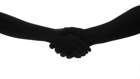 holding and shaking hands black and white Imagens