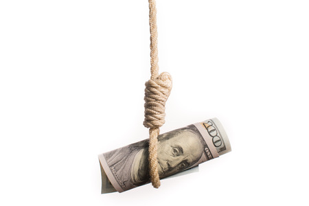 devaluating money hanging on the rope