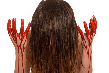lady with blood pouring down her hands Imagens