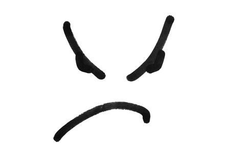 resentful: angry face smile drawing with black marker pen isolated on white background Stock Photo