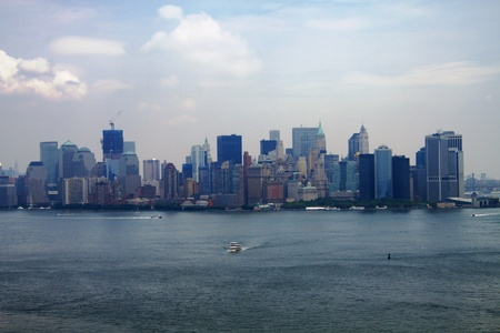 New York city skyline, view of Lower Manhattan from Statue of Liberty crown Stock Photo - 12507673