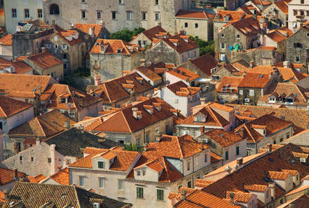Panorama of Dubrovnik roofs in Croatia at sunrise, travel background photo