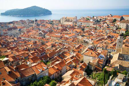 Panorama of Dubrovnik in Croatia at sunrise, travel background