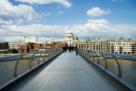 St Pauls cathedral view from the Millennium Bridge, London photo