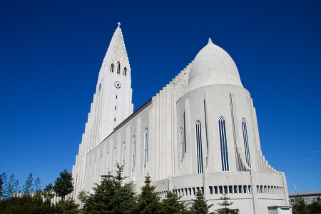 Modern church in Reykjavik, Iceland Stock Photo