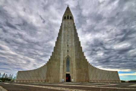Modern church in Reykjavik in HDR, Iceland Stock Photo