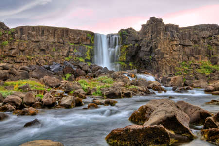 Oxararfoss waterfall in HDR, Iceland Stock Photo - 14992843