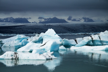 Icebergs on glacier lagoon, Iceland photo
