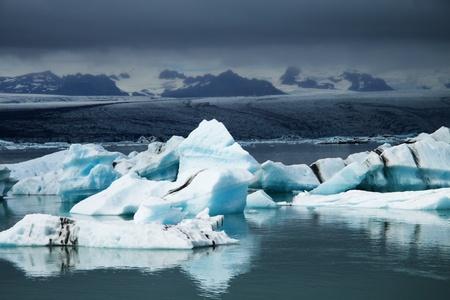Icebergs on glacier lagoon, Iceland