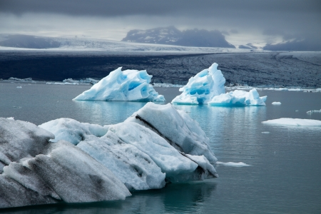 Icebergs on Jökulsárlón glacier lagoon, Iceland Stock Photo